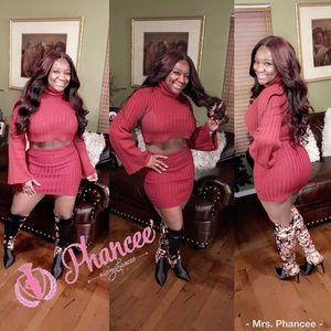 Maroon Sweater/Skirt  2pc set
